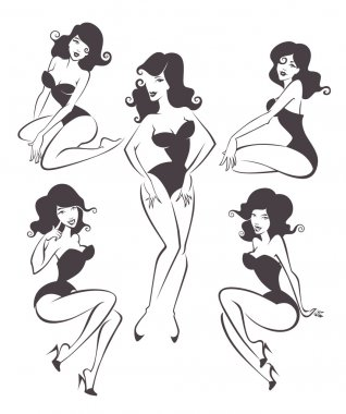 Vector collection of stylized pin up girls in different poses