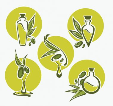 Green olive, leaves, bottles and oil