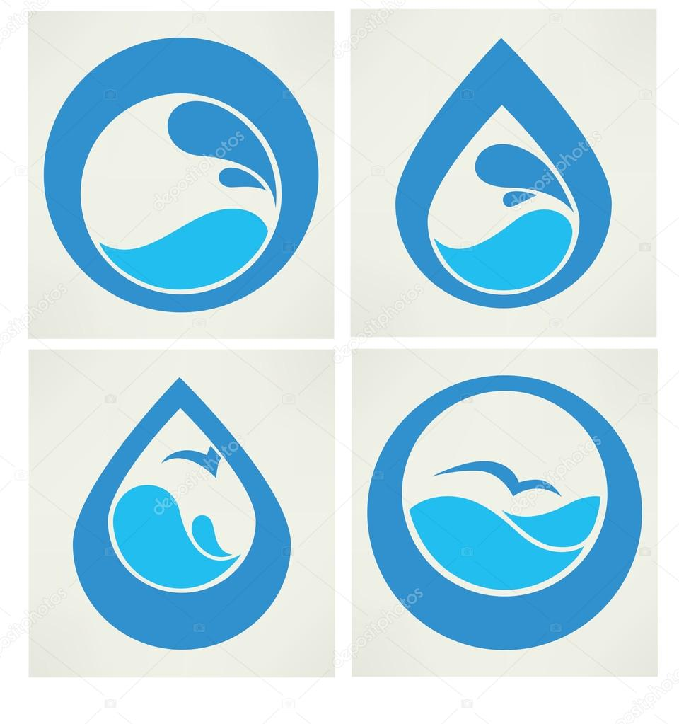 water stickers, icons and symbols in flat style