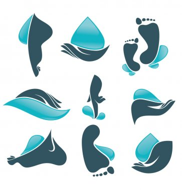 Life in water, vector collection of clean women hands and foot