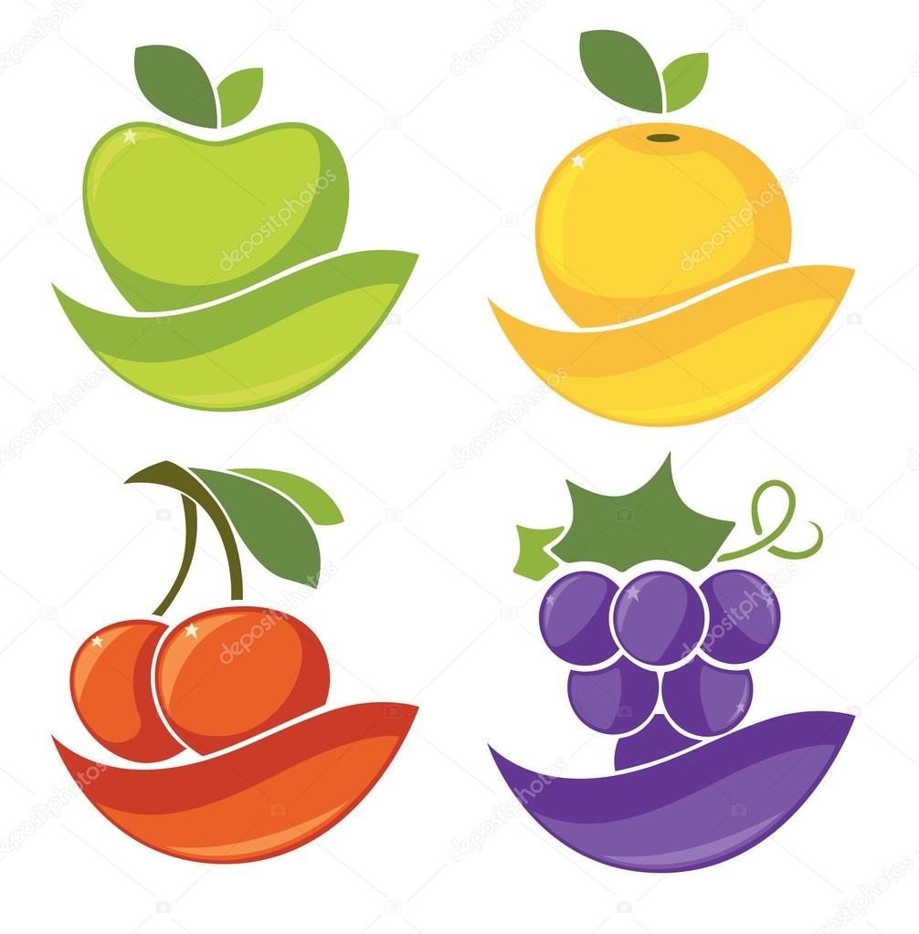 fresh stylized fruits and berries