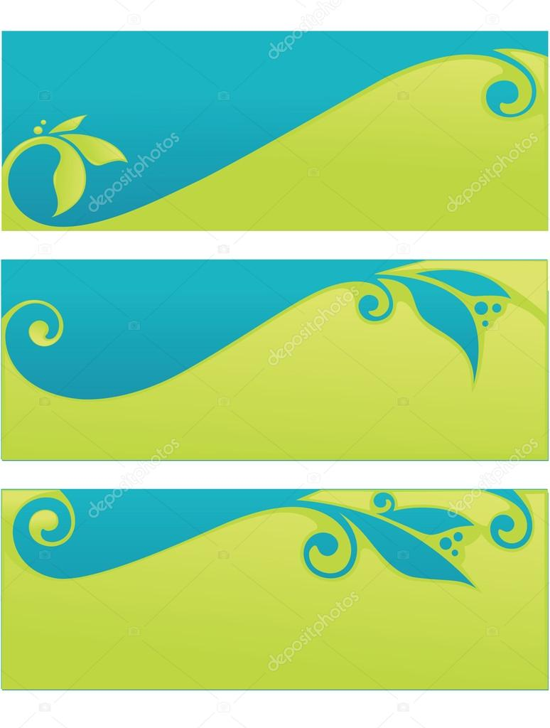 Vector collection of spring eco headers and banners