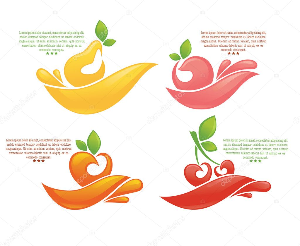 Juice stickers and fruits symbols