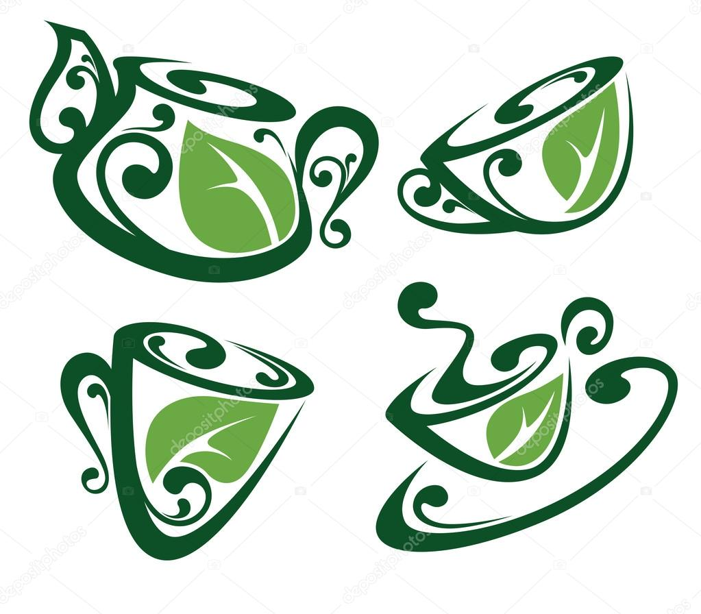 herbal tea, vector collection of cups and tea pots