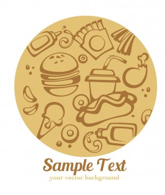 Traditional American fast food, vector background