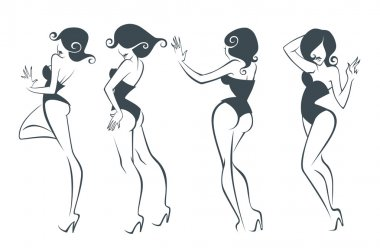 Vector collection of stylized cartoon pin up girls in different