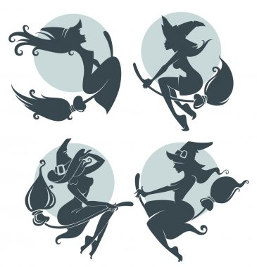 young happy and attractive witches, vector collection