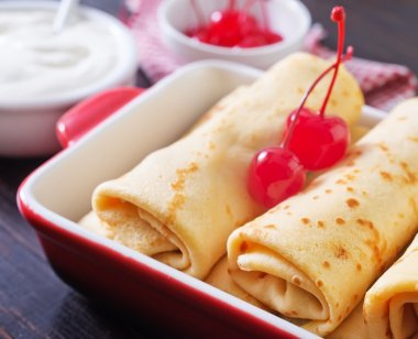 Pancakes with cherry