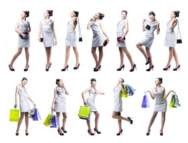 Young beautiful woman with shopping bags and handbag