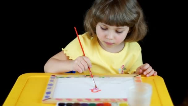 Little girl playing with watercolors