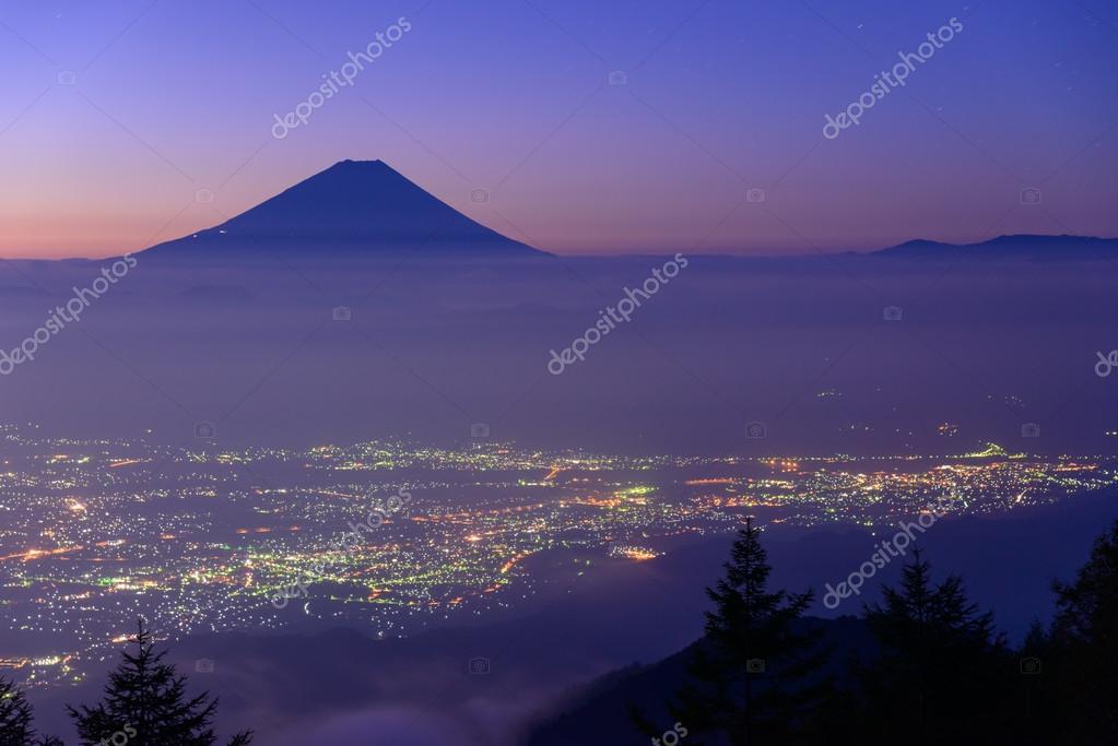 Lights of the Kofu city and Mt.Fuji at dawn