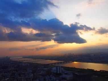 The City of Osaka at dusk
