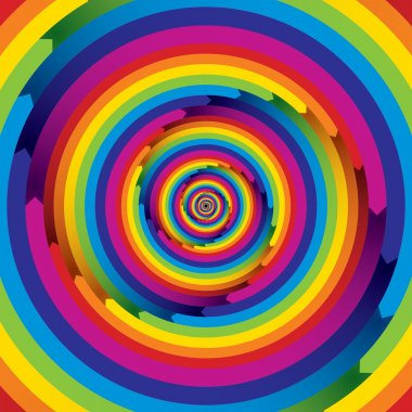 Infinite arrow shaped spiral. Rainbow colored.