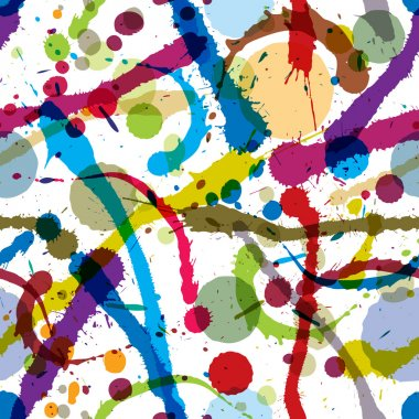 Colorful ink splatters and drops seamless pattern.