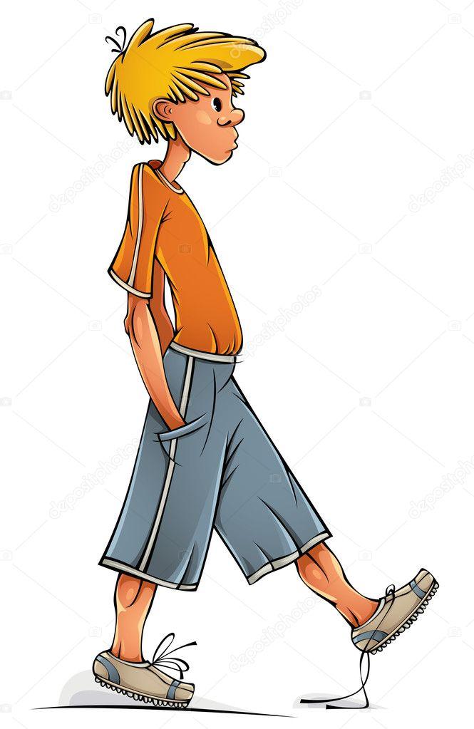 Funny walking teen boy.