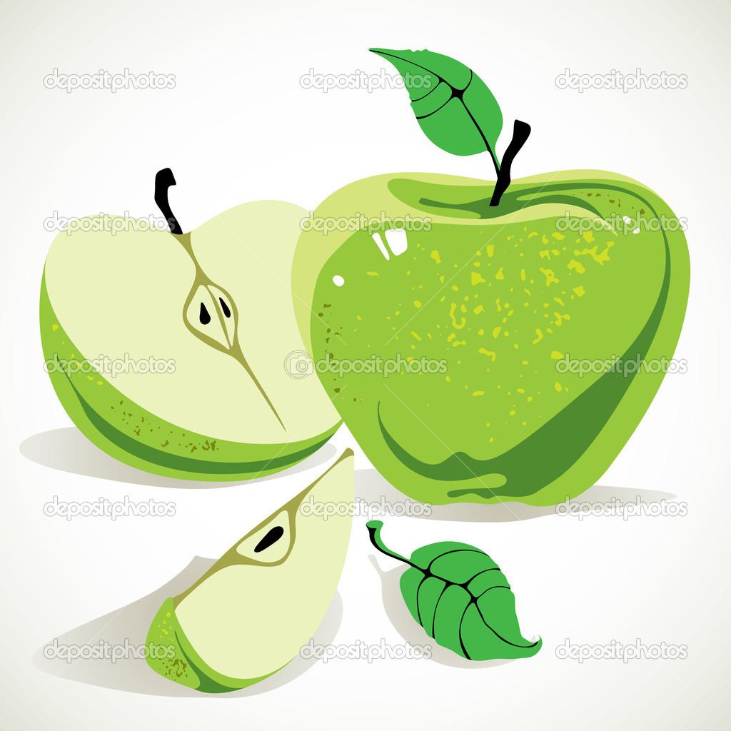 Yarım Elma Ve Yaprakları Yeşil Elma Stok Vektör Ostapius 12768354