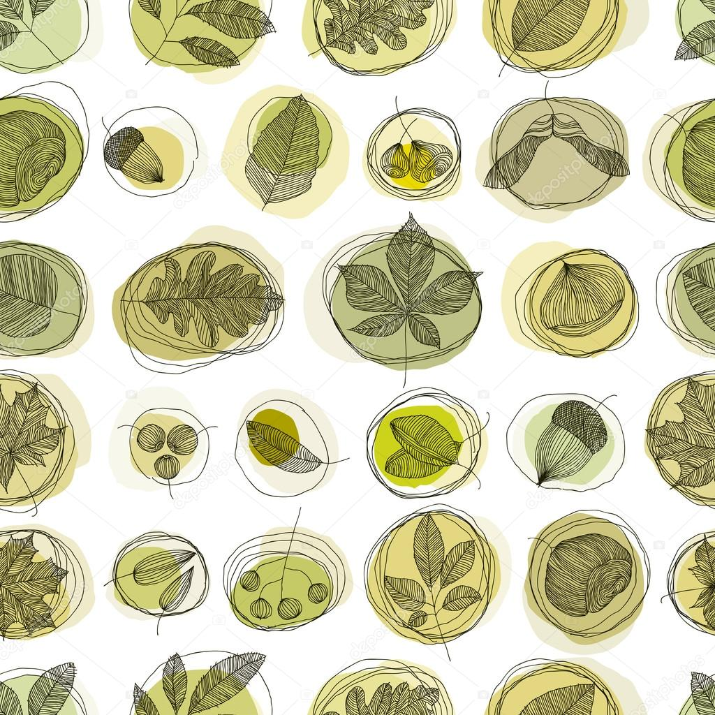 Leaves and seeds background (seamless).