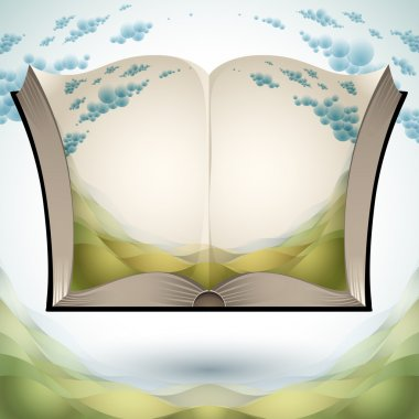Open book with nature landscape.