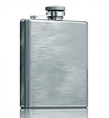 Stainless hip flask isolated.