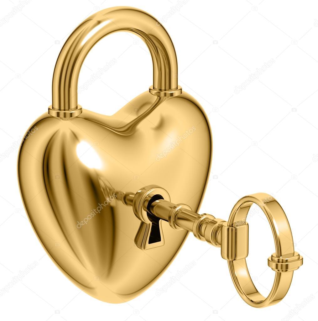 Lock formed as heart.