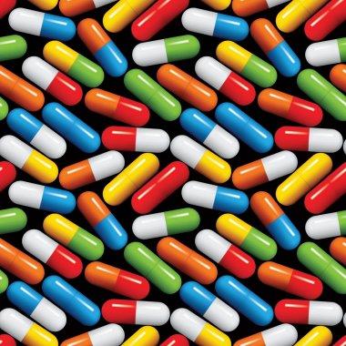Medical pills seamless pattern.