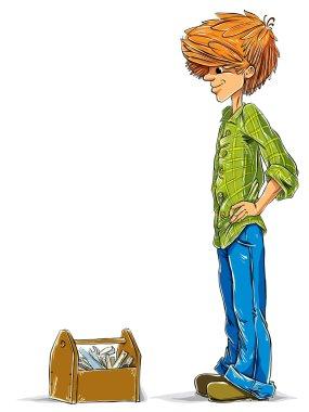 Teen boy cartoon with toolbox, vector. stock vector