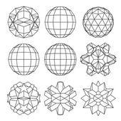 Raccolta di 9 sfere tridimensionali complesse in bianco e nero e