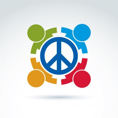 Round antiwar vector icon, no war symbol. People of all national