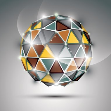 Abstract 3D vivid gala sphere with gemstone effect, gold and met