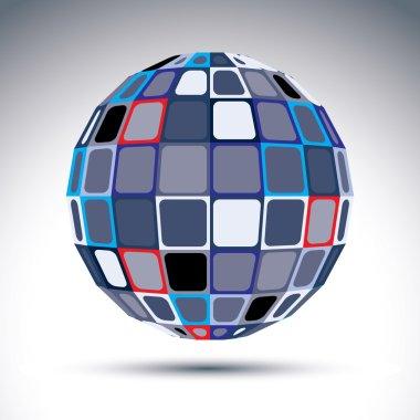 Gray urban spherical fractal object, 3d metal mirror ball. Kalei