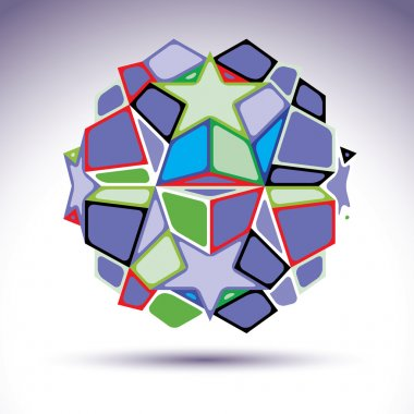 Complicated kaleidoscope 3d sphere constructed from colorful geo