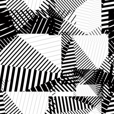 Black and white endless vector striped tiling, fashionable textu