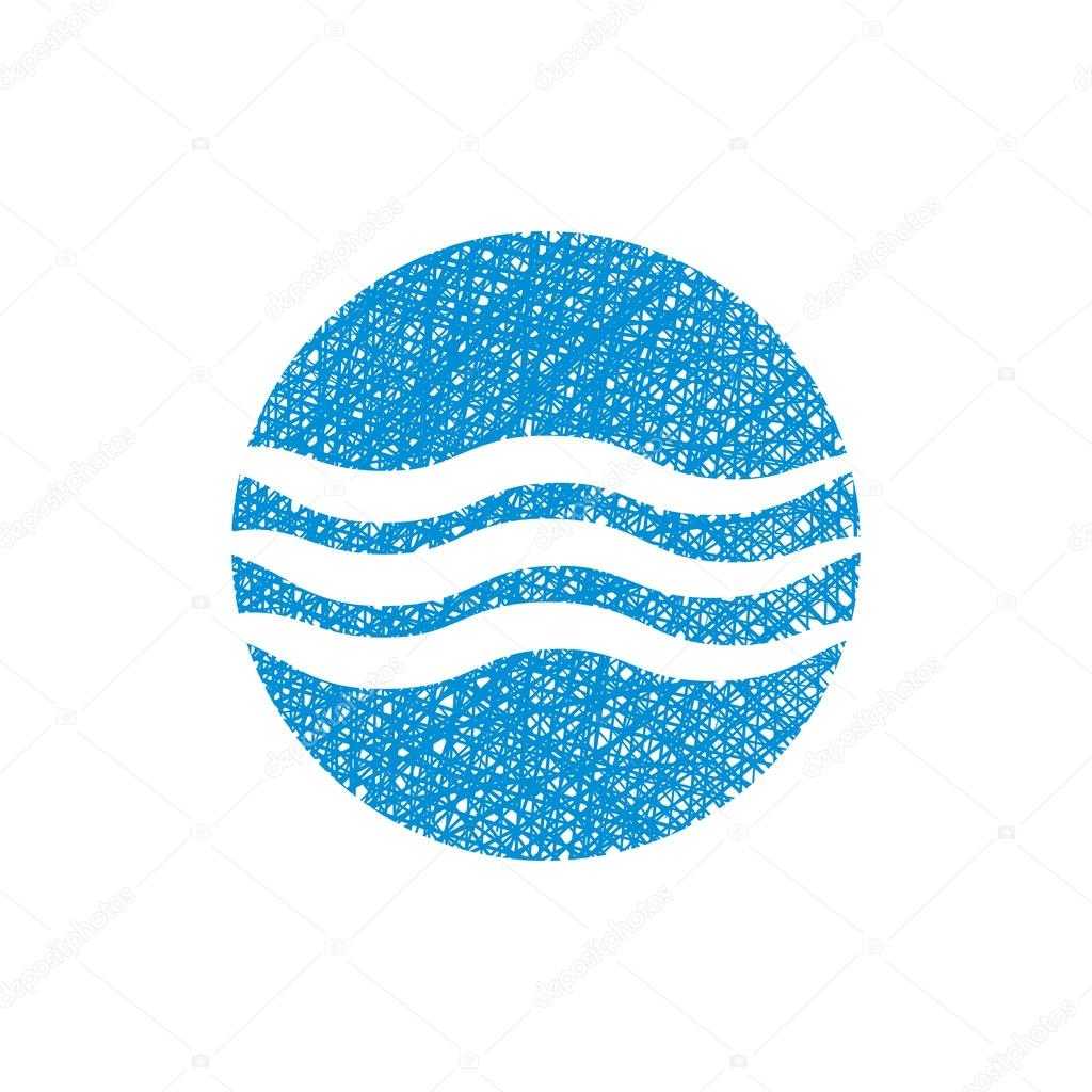 Wave water icon , abstract icon, vector symbol with hand drawn l