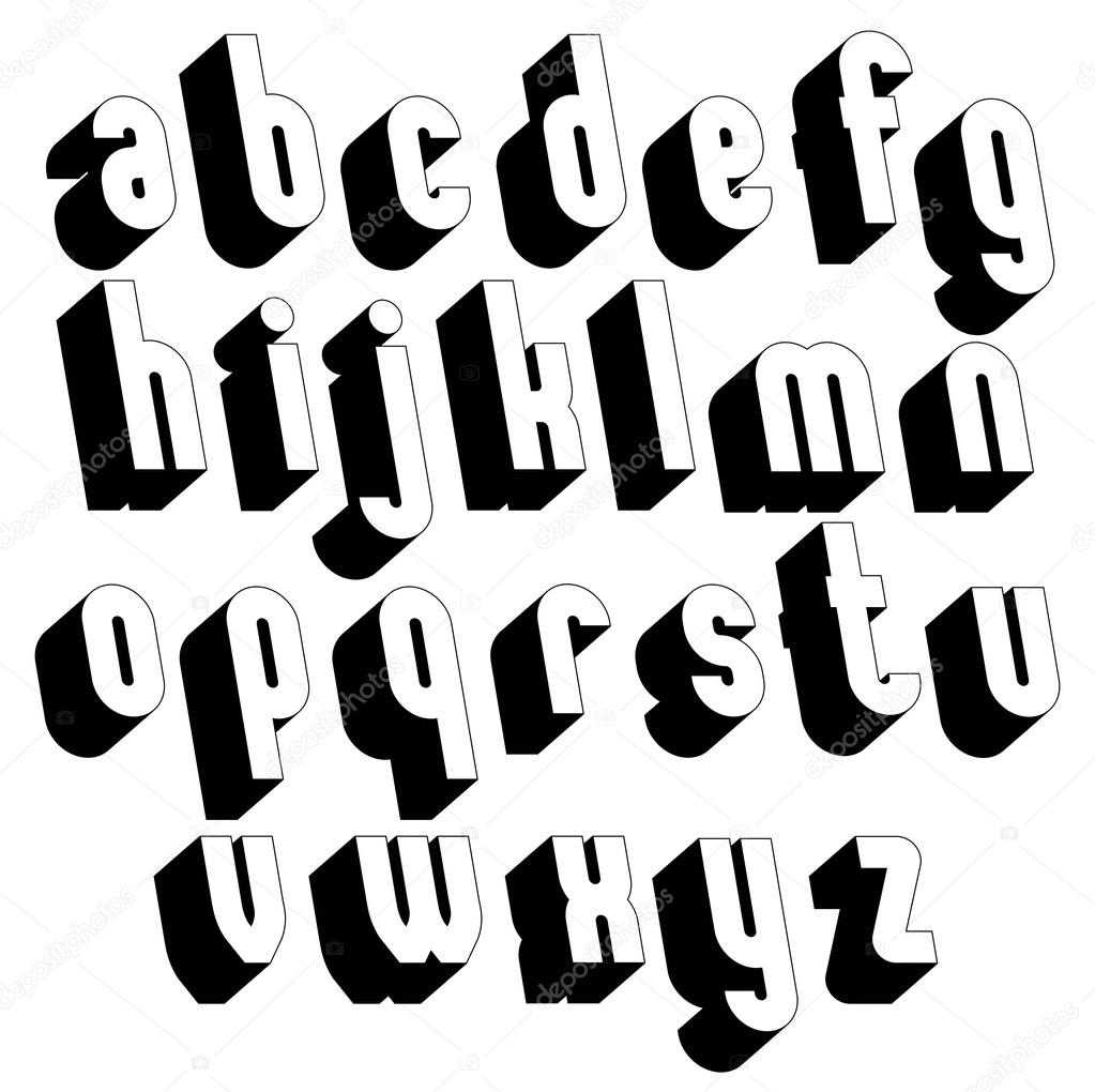 White 3d letters black and white 3d font single color