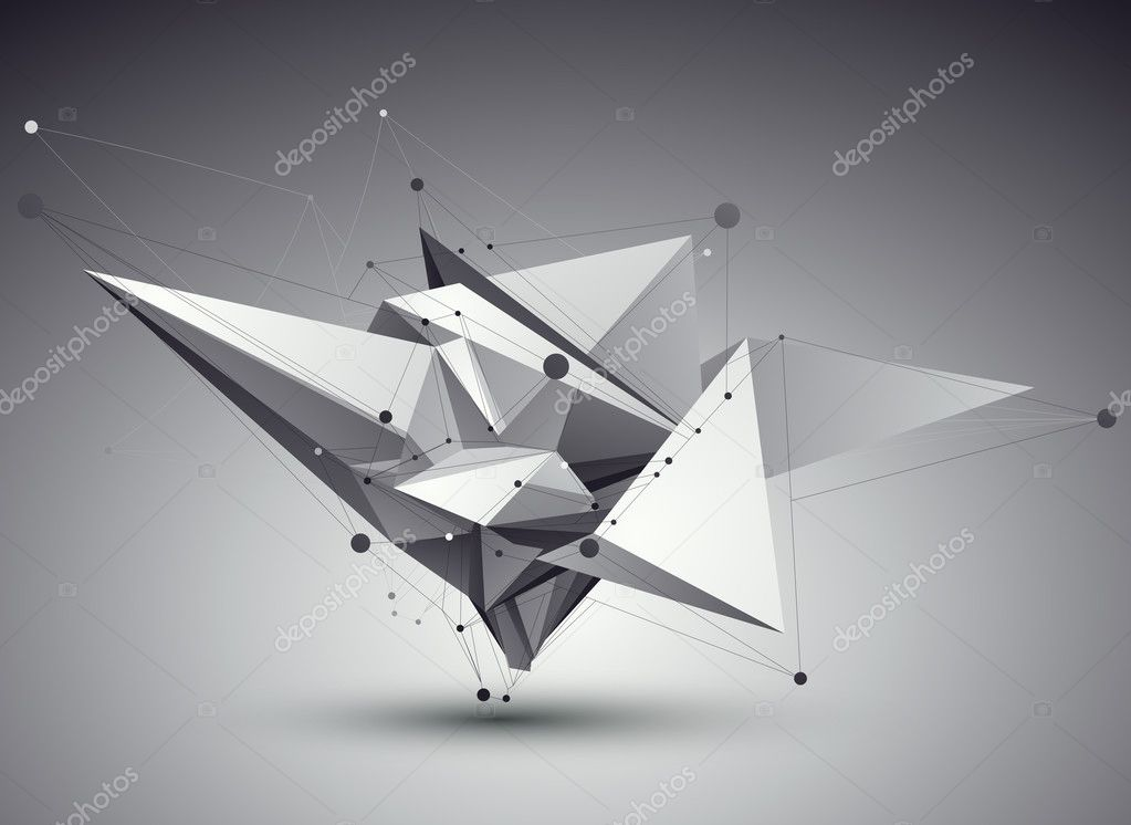 3D vector abstract tech illustration, perspective geometric unus