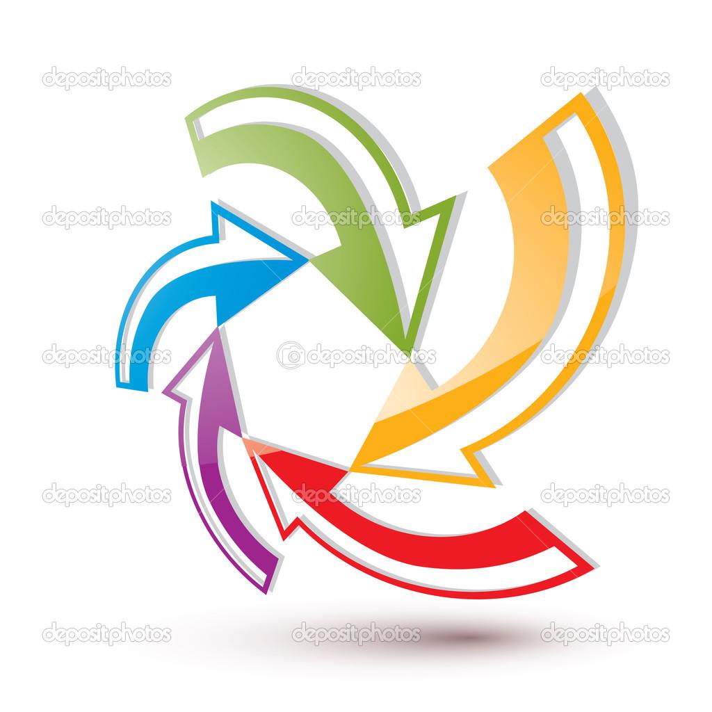 flechas conceptual abstracto plantilla símbolo, vector 3d pictograma ...