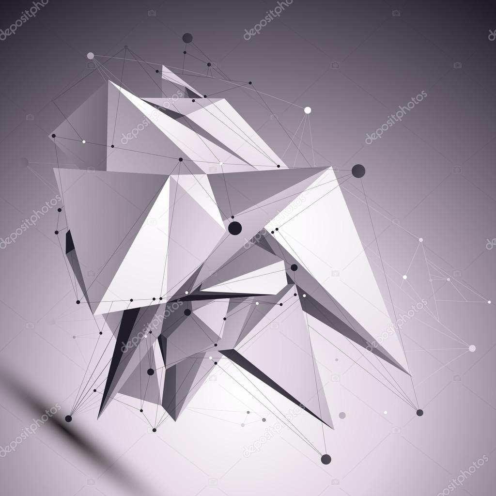 3D modern cybernetic abstract background, origami futuristic tem