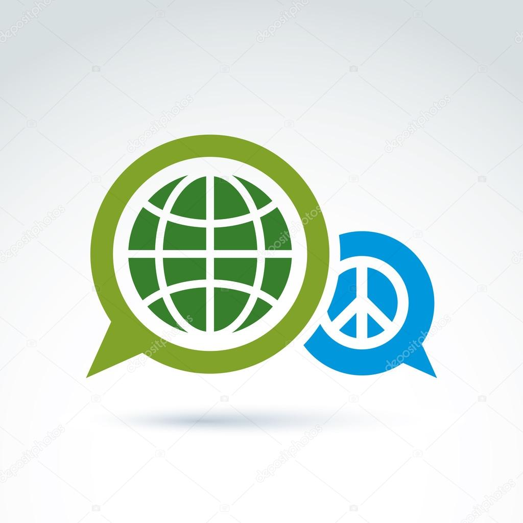 Round antiwar vector icon, green planet and speech bubble with p