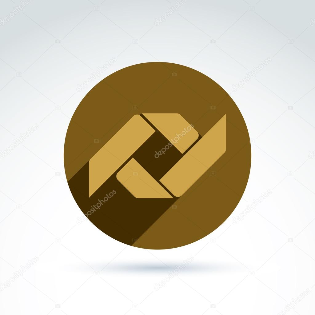 Vector Bronze Geometric Abstract Emblem Placed In A Circle Corp