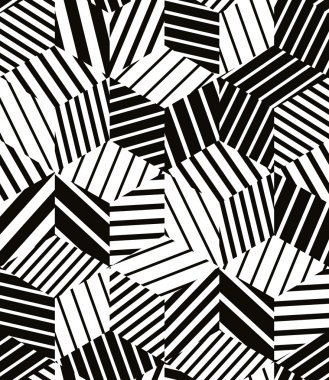 Lined 3d cubes seamless pattern, black and white vector background.