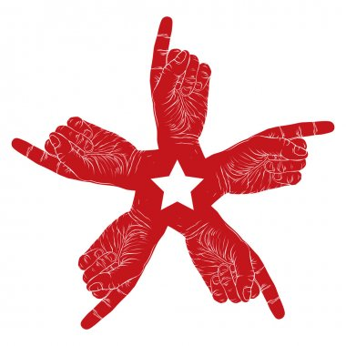 Five pointing hands abstract symbol with pentagonal star, black