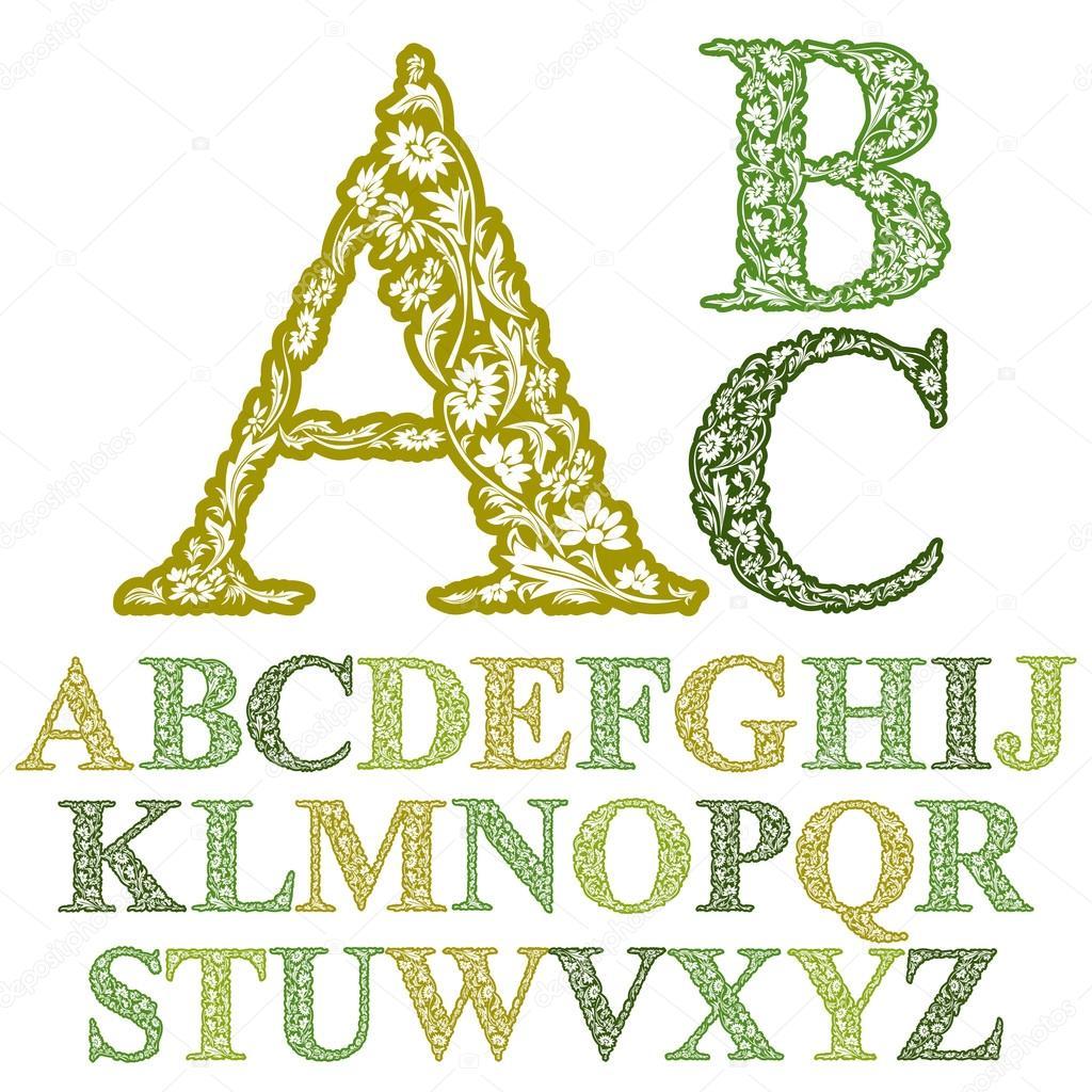sch ne blumen buchstaben schrift vektor alphabet stockvektor ostapius 49112807. Black Bedroom Furniture Sets. Home Design Ideas