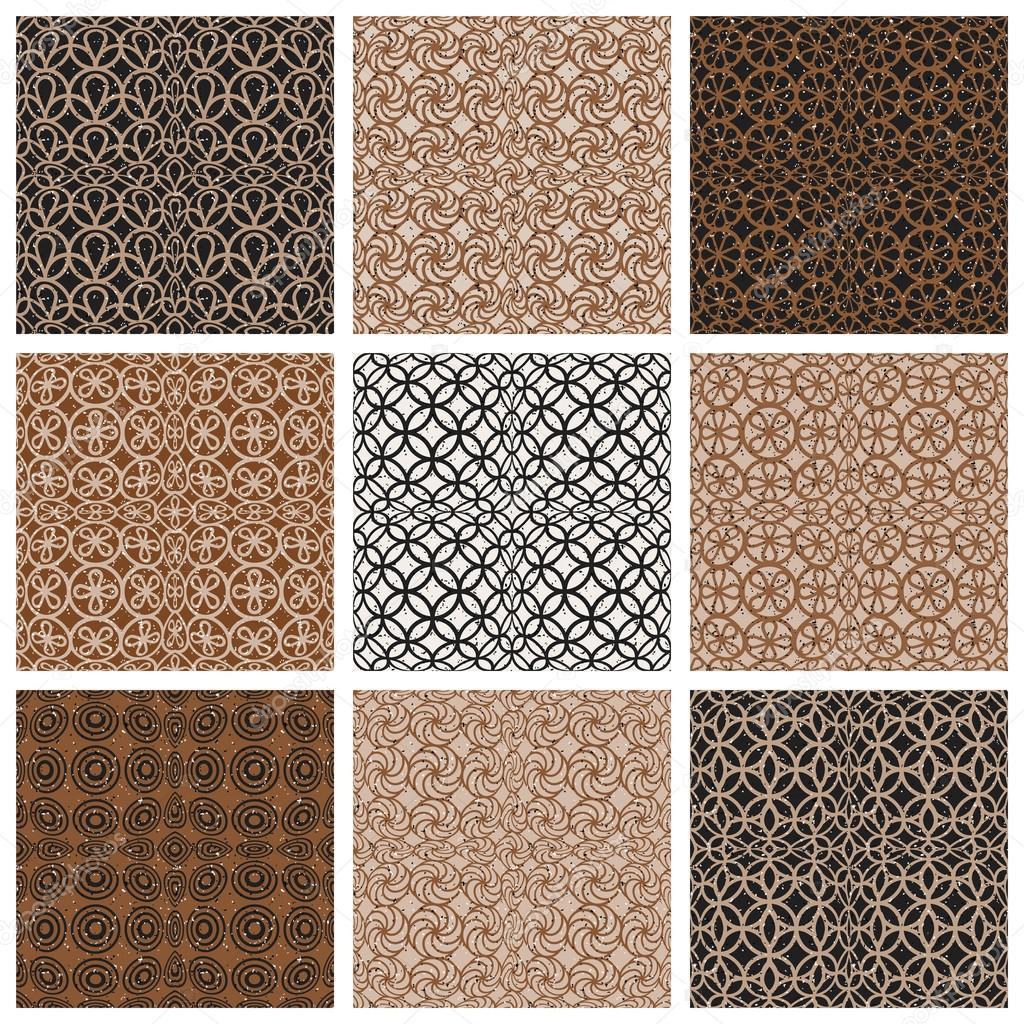 Monochrom Braun Vintage Stil Fliesen Nahtlose Muster Set,  Vektor Hintergründe Auflistung U2014 Vektor Von Ostapius