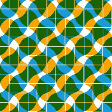Mosaic ornament seamless pattern, vector background.