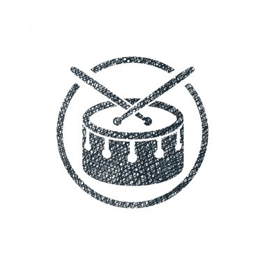 Snare drum musical vector icon with hand drawn lines texture.