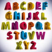 Fotografie 3D font, big colorful letters standing.