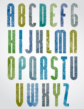 Retro style tall  poster font with halftone lines print texture.