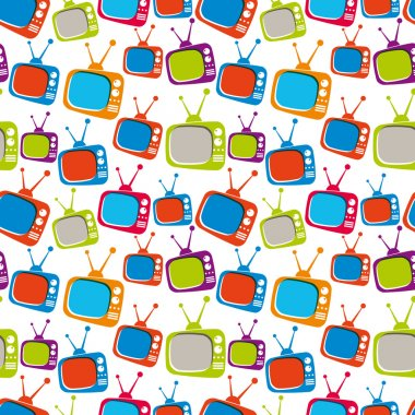 Colorful retro style TV sets seamless background, vector illustr