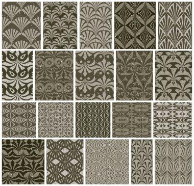 Vintage tiles seamless patterns, 20 monochrome designs vector se