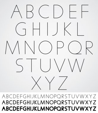 Elegant light font, vector alphabet letters design.